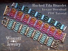 Pattern for Ruched Tila Bracelet Cuff with Two Hole Miyuki Materials Required (Not Included) 5mm Two Hole Miyuki Tila Beads  (or 5x2mm Half Tila Beads)  (or 6mm Czechmate Tile Beads) Size 11/0 Seed Beads in Two Colors  (Can Use Japanese or Czech Seed Beads)