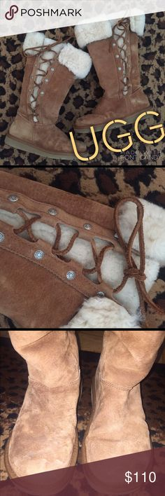 UGG Fur trim, lace up boots Get ready for fall with these cozy boots! Some wear but overall great condition! (See water spotting in Pic #3). UGG Shoes