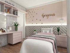 """Teens have unique ideas of what they consider as """"cool bedrooms."""" Teen bedroom themes reflect things such as their personalities, aspirations, and ideas. Study Room For Teenager Cute Bedroom Ideas, Trendy Bedroom, Bedroom Themes, Bedroom Girls, Teen Bedroom Colors, Pastel Bedroom, Diy Bedroom, Modern Bedroom, Pastel Room Decor"""