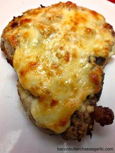 Roasted Garlic Parmesan Pork chops...Bacon, Butter, Cheese  Garlic: Nothing Beats a Pork Chop!