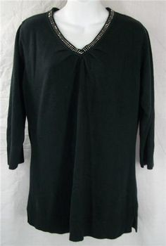 SUSAN GRAVER STYLE Top Medium Black 3/4 Sleeve Sweater Shirt M Acrylic Solid #SusanGraverStyle #KnitTop