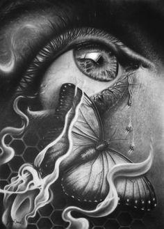 Girl with the dragon tattoo Coloring for adults - Kleuren voor volwassenen Pencil Art, Pencil Drawings, Art Drawings, Amazing Drawings, Amazing Art, Tattoo Studio, Portrait Au Crayon, Surrealism Drawing, Drawn Art