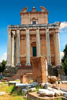 The temple of Antonius and Faustina. The Forum Rome, By Paul Williams