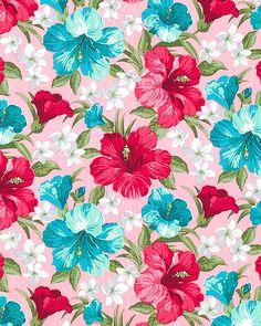 Summerville - Hibiscus Hideaway - Lt Pink - COTTON SATEEN