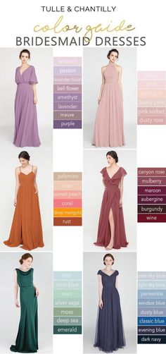 Wedding color inspiration with mismatched bridesmaid dresses on budget from tulleandchantilly in purples, pinks, oranges, reds, greens and blues Wisteria Bridesmaid Dresses, Mismatched Bridesmaid Dresses, Bridesmaid Dress Styles, Brides And Bridesmaids, Winter Wedding Colors, Tulle Wedding, Boho Wedding, Wedding Ideas, Wedding Photos