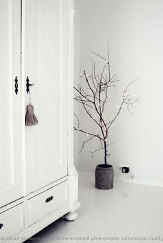 A large twig or a small branch firmly set into a pot with Christmas lights <3 t r e t t i e n [31]: jul http://www.trettien.com/search/label/jul