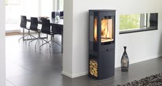 QUADRO 1 - Wood heating stove / metal / contemporary by Nordpeis Boiler Stoves, Stove Fireplace, Piece A Vivre, Wood Burner, Wood Storage, Home Living Room, Decoration, New Homes, Home Appliances