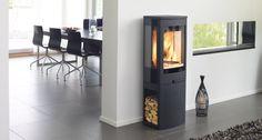 Duo 2 - modern Scandinavian stove with wood storage