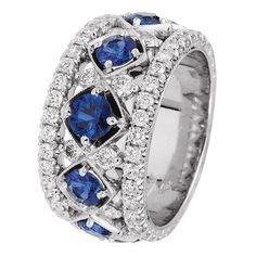 Jack Kelege Platinum Band with Brilliant Cut Diamonds and Sapphires. Diamond Wedding Rings, Diamond Engagement Rings, Wedding Bands, Sapphire Jewelry, Gemstone Jewelry, Sapphire Rings, Blue Sapphire, Himmelblau, Antique Rings