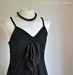 Vintage Black Dress silver rolled hem black by LesleysGirlsVintage, £21.95