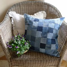 "Patchwork denim pillow cushion cover by Mia's Landliv. According to her blog she ""cut 7x7cm squares out of as many various shades of jeans as possible."" Really great idea to reuse old jeans. Great as as outdoor cushion!"