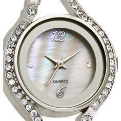 Embellished Case Watch with Genuine Mother-of-Pearl Dial
