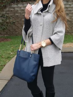 love it all...Stella and Dot bracelets with Michael Kors runway watch and leather handbag
