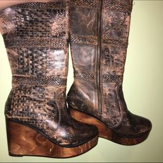 """NWOT Stu Bed wedged boots Great find, unfortunately they are not my size but couldn't pass them up! Leather upper, wooden like wedges, side zipper. Last pict is example from eBay of same boot selling for $151, I'm only selling for $100! Heel: 3.75"""" calf: 15"""" Stu bed Shoes Wedges"""