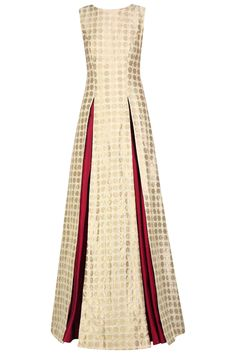 Beige star brocade high slit kurta and maroon lehenga set available only at Pernia's Pop Up Shop.