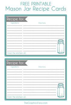 Mason Jar Recipe Card Printable! - The Graphics Fairy