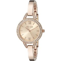 SO&CO New York.4 SoHo Quartz Crystal Accent 16K Rose Tone Stainless... ($63) ❤ liked on Polyvore featuring jewelry, watches, roman numeral watches, rose gold tone watches, quartz watches, hinged bangle and rose quartz jewelry