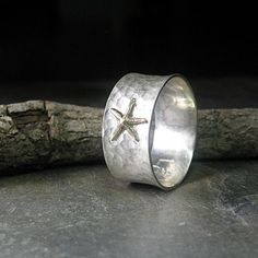Sterling Silver Earrings Tidepool Starfish ring in brushed sterling silver .from Lavender Cottage Jewelry