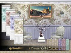 The Sims Resource: Damask Wallpapers by Emerald • Sims 4 Downloads