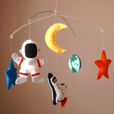 Outer Space Adventure Baby Mobile - Space Shuttle, Astronaut, Earth, Moon, Stars (Custom Felt Colors Available)
