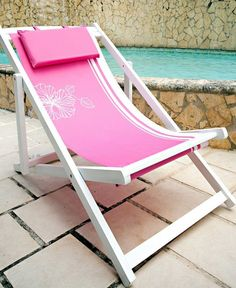 Set of 2 pink Praia beach chairs with pink pillow Available for store pick up only! Once purchased, we will proceed to contact you to confirm pick up date. Store Location: Pembroke Lakes Mall (Next to