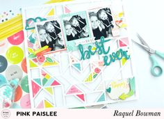 Triangles: Best Ever Layout @raquelLbowman @pinkpaislee #pinkpaislee #ppfancyfree #scrapbooking #12x12 #paigekit