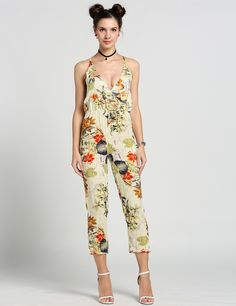 8295088cf7bd Backless Elastic Waist Adjustable Strap Flower Print Jumpsuits