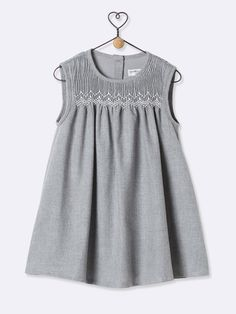 BABY'S FLANNEL DRESS - grey marl, Babies