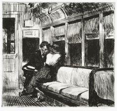 Edward Hopper - Night On The El Train - 1918  Etching