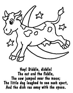 The Cow Jumping Over Moon Colouring Page