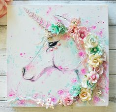 """""""Oh my, this Make It Prima mood board for August is just magical! I absolutely had to play along, my favourite pastel combination for sure. I created a unicorn canvas piece using Watercolor Confections and some Mixed media products. I just adore the mix Unicorn Rooms, Unicorn Bedroom, Mermaid Bedroom, Unicorn Painting, Unicorn Art, Hallo August, Art Diy, Unicorns And Mermaids, Unicorn Crafts"""