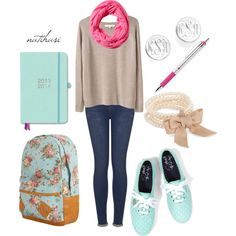 """First Day of School Outfit"" by natihasi on Polyvore......uhh def will wear this first day minus shoes and booksack and scarf lol"