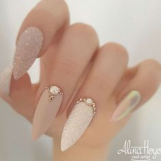 57 Gorgeous Wedding Nail Designs for Brides, bridal nails nails bride,wedding nails with glitter, nails for wedding guest Nail Art Designs Images, Acrylic Nail Designs, Chic Nail Designs, Hot Nails, Pink Nails, Glitter Nails, Blue Nail, Matte Nails, Nagellack Design