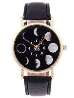 New Arrival Eclipse and Lunar Eclipses PU Leather Quartz Bracelet Watches Fashion Women Students Dress Wristwatches Stylish Watches, Unique Watches, Quartz Jewelry, Cheap Accessories, Fashion Watches, Lunar Eclipse, Eclipse Watch, Bracelet Watch, Women Jewelry