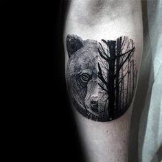 Mens Half Bear Half Forest Small Tattoo On Inner Forearm #boulderinn
