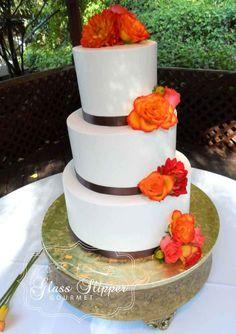 classic, simple buttercream wedding cake with satin ribbons #orangeandbrown