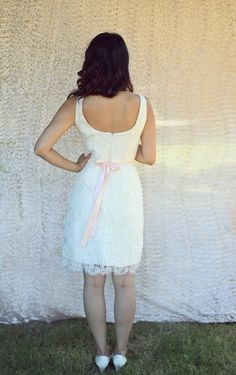 Short Lace Wedding Dress Classic VNeck with by PureMagnoliaCouture, $750.00