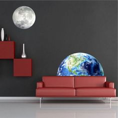 Half Earth Wall Mural Decal - Space Wall Decal Murals - Primedecals