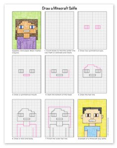 How to Draw a Minecraft Selfie · Art Projects for Kids Art Lessons For Kids, Art Lessons Elementary, Projects For Kids, Art For Kids, Minecraft Kunst, Minecraft Drawings, Minecraft Crafts, Minecraft Buildings, Drawing Projects