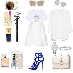 all_white_everything by andreea-mateiu on Polyvore featuring MANGO, Carven, Valentino, FOSSIL, Cartier, Miadora, Kate Spade, Jimmy Choo, By Terry and Chanel