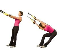TRX Lower Back Stretch (w/ Roatation) Stand Facing Increases flexibility in lower back and hamstrings. Tips: For maximum benefit, rotate as far as possible toward ceiling. Perform on both sides.