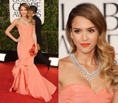 Love Jessica Alba's coral dress and lips and glamorous, wavy hair! perfection... #goldenglobes #jessicaalba #coral