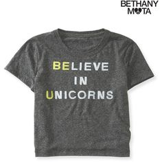 Aeropostale Unicorns Crop Graphic T (€11) ❤ liked on Polyvore featuring tops, t-shirts, shirts, bethany mota, storm, relax t shirt, crop tee, polyester t shirts, crop t shirt and graphic design t shirts