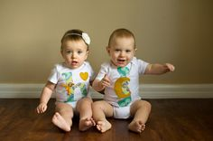 Swanky Baby Twin Girl/Boy Set of two coordinating by SwankyShank, $25.00