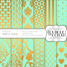 Mint green and Gold digital paper gold by LaBoutiqueDeiColori, £2.39