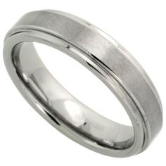 Tungsten Carbide 5.5 mm Wedding Band Ring Satined Center Recessed Edges, sizes 5 to 12 Sabrina Silver. $24.50