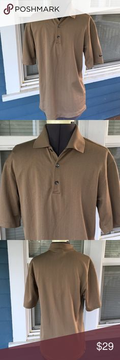 "Mens👕NIKE GOLF Tan Fit Dry Polo Shirt Mens👕NIKE GOLF Tan Fit Dry Polo Shirt.   Short sleeves.  Tan polyester NikeFit Dry material.   Shoulder width 18"".  Length 27"" (shoulder to hem).   Excellent condition. Nike Shirts Polos"