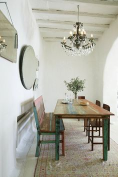 Rustic dining table with bench + chairs. Zege Architects Marilyn Katsaris Tinos Island House in Greece / Yatzer Rustic Table, Wood Table, Vintage Table, Vintage Décor, Home And Deco, Table And Chairs, Table Bench, Bench Seat, Side Chairs