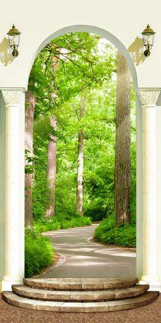 Фотообои на узкую стену Тропинка в лесу.