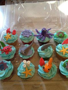 Under The Sea Cupcakes…for the Birthday Bash Ocean Cupcakes, Beach Theme Cupcakes, Kid Cupcakes, Animal Cupcakes, Themed Cupcakes, Birthday Cupcakes, Birthday Bash, Shark Cupcakes, Birthday Ideas